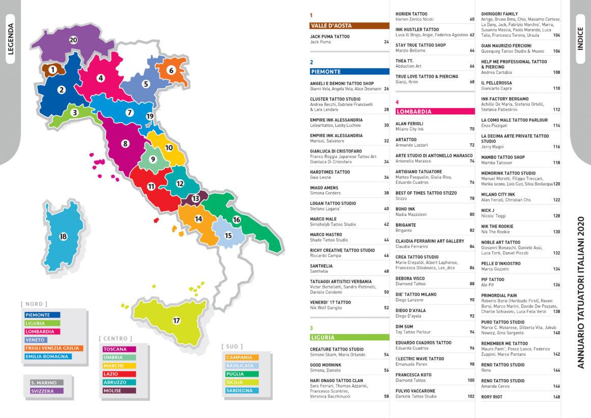 Annuario Tatuatori Italiani, suddivisione per regioni